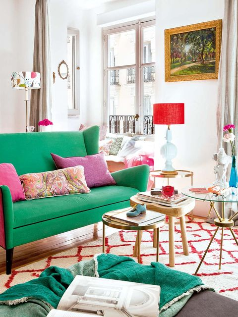 Living room, Furniture, Room, Green, Interior design, Turquoise, Couch, Red, Pink, Property,