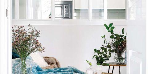 Room, Interior design, Teal, Turquoise, Aqua, Home, Interior design, Natural material, Fur, Wood flooring,