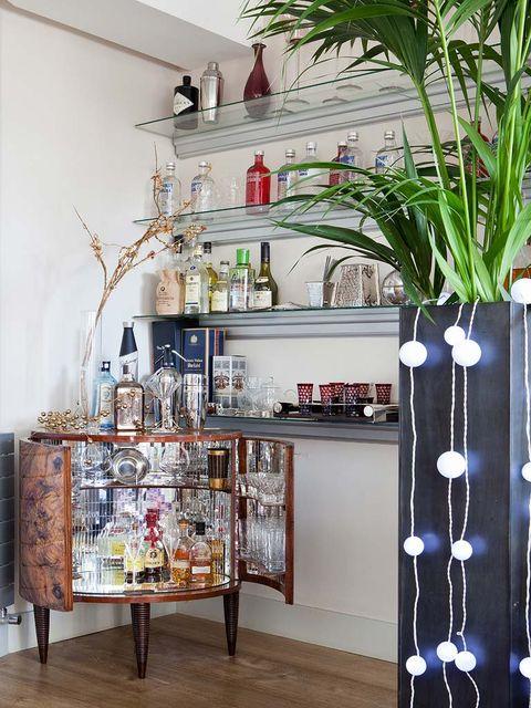Interior design, Shelving, Shelf, Interior design, Flowerpot, Bottle, Vase, Plant stem, Houseplant, Cabinetry,