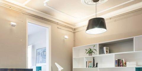 Room, Interior design, Green, Floor, Property, Wall, Ceiling fixture, Living room, Light fixture, Ceiling,