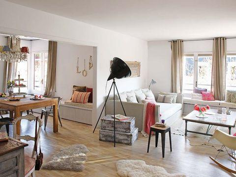 Room, Interior design, Wood, Floor, Flooring, Furniture, Table, Wall, Home, Living room,