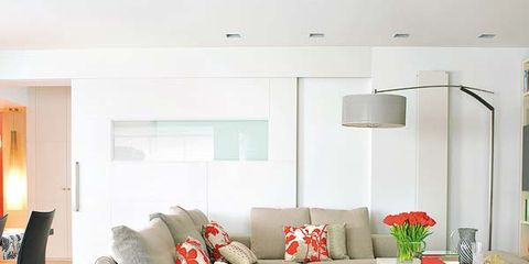 Room, Interior design, Living room, Floor, Furniture, Home, Wall, Couch, Ceiling, Orange,