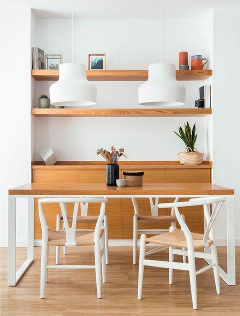 Furniture, Shelf, Room, Table, Shelving, Interior design, Desk, Stool, Dining room, Wood,