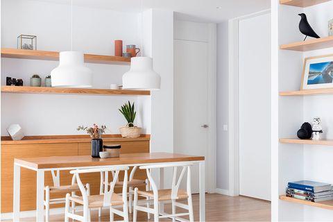 Furniture, Room, Shelf, White, Property, Interior design, Floor, Product, Shelving, Kitchen,