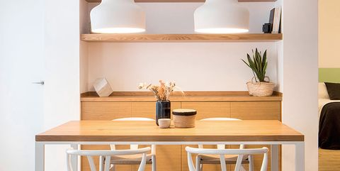 Furniture, Room, Table, Shelf, Interior design, Desk, Dining room, Chair, Shelving, Stool,