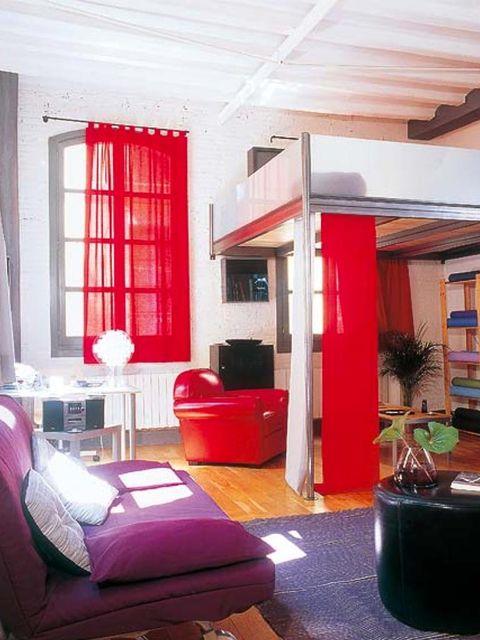 Interior design, Room, Floor, Wood, Flowerpot, Wall, Red, Flooring, Ceiling, Interior design,