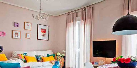 Room, Interior design, Floor, Textile, Flooring, Living room, Furniture, Home, Interior design, Pink,