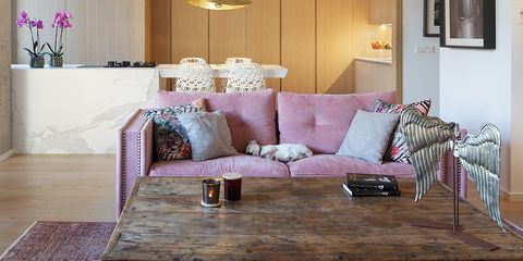 Furniture, Room, Interior design, Living room, Property, Table, Coffee table, Floor, Home, Pink,