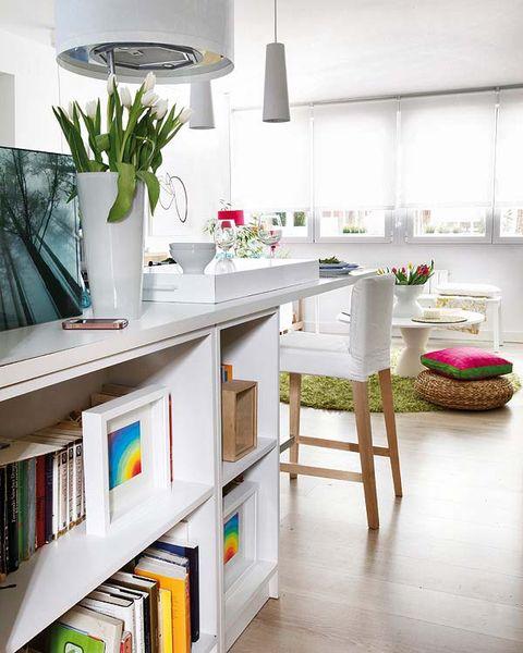 Interior design, Room, Interior design, Floor, Home, Light fixture, Grey, Shelving, Publication, Houseplant,