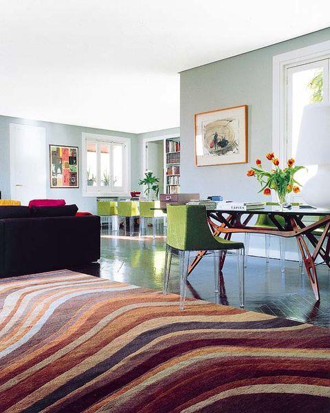 Room, Interior design, Floor, Textile, Furniture, Flooring, Table, Linens, Bed, Interior design,