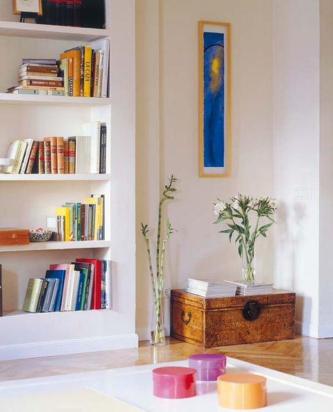 Shelf, Interior design, Room, Bookcase, Shelving, Wall, Publication, Interior design, Flowerpot, Paint,