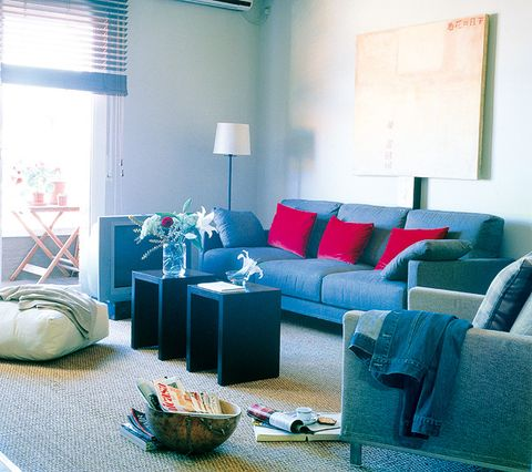 Blue, Room, Interior design, Floor, Living room, Wall, Couch, Home, Furniture, Flooring,