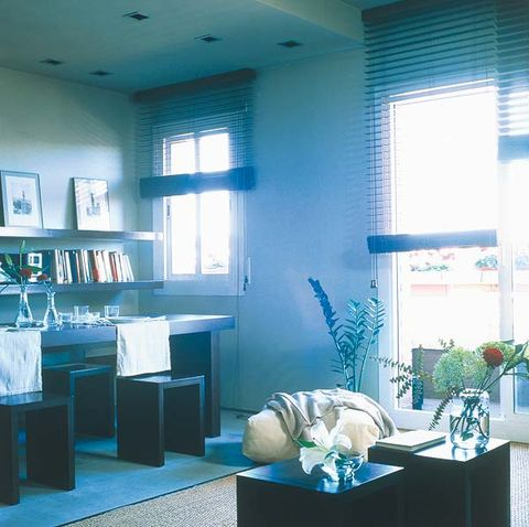 Blue, Room, Interior design, Turquoise, Teal, Shelf, Interior design, Home, Floor, Ceiling,