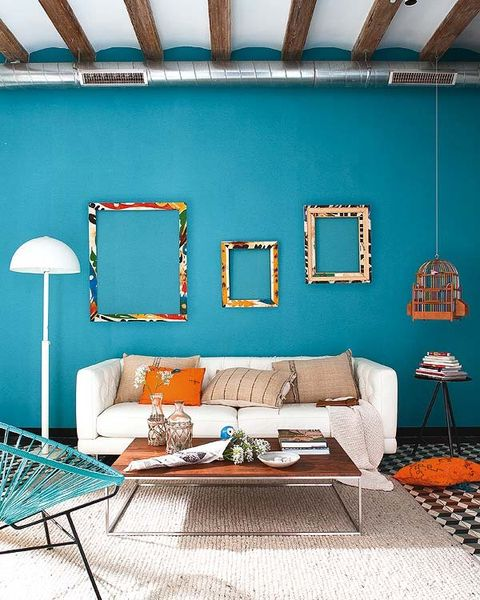 Blue, Green, Room, Interior design, Wall, Textile, Ceiling, Orange, Turquoise, Home,