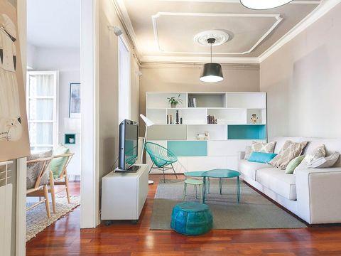 Wood, Blue, Floor, Room, Interior design, Green, Flooring, Wall, Living room, Home,