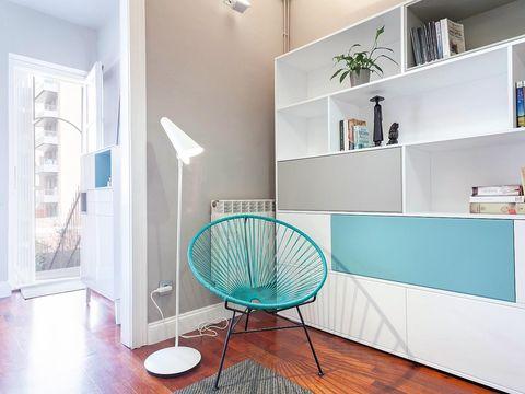 Product, Floor, Flooring, Room, Interior design, Wall, Ceiling, Turquoise, Teal, Shelf,