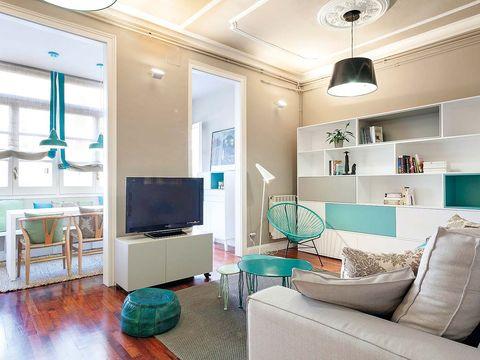Green, Room, Interior design, Floor, Wood, Flooring, Living room, Wall, Home, Ceiling,