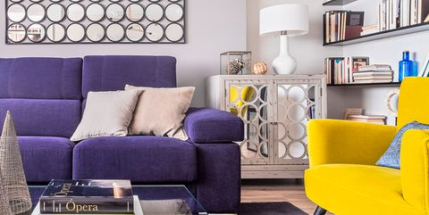 Living room, Furniture, Room, Purple, Yellow, Interior design, Blue, Couch, Coffee table, Violet,