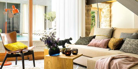 Room, Interior design, Yellow, Furniture, Table, Home, Floor, Wall, Living room, Interior design,