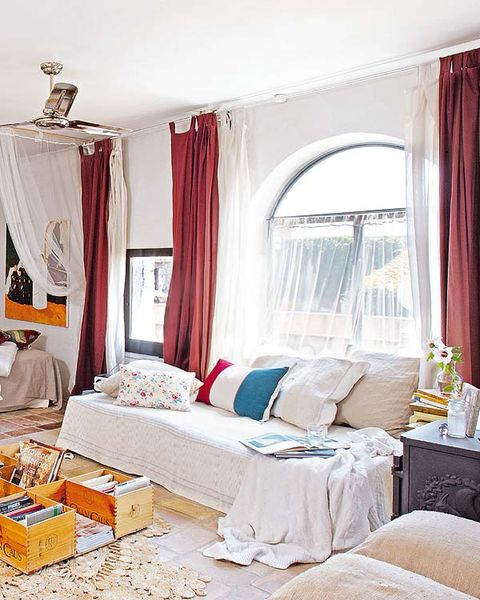 Interior design, Room, Property, Textile, Home, Bed, Bedding, Window treatment, Linens, Interior design,
