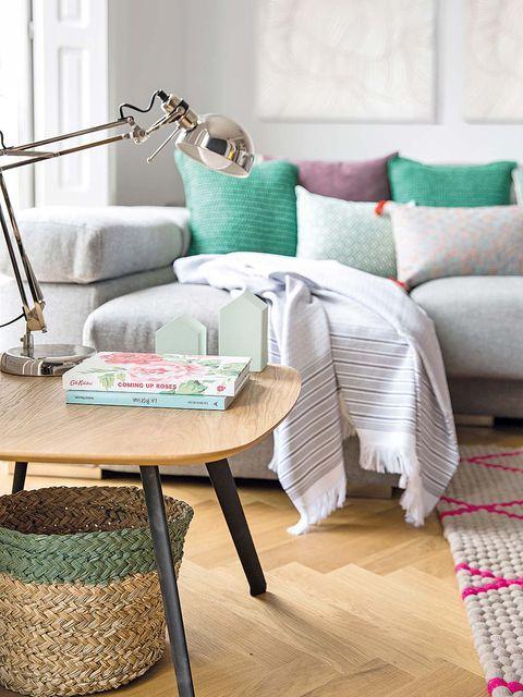 Furniture, Room, Living room, Coffee table, Interior design, Table, Floor, Turquoise, Home, Flooring,