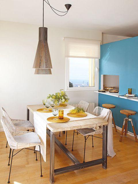 Room, Wood, Interior design, Yellow, Floor, Furniture, Table, Dining room, Flooring, Ceiling,