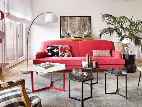 Furniture, Living room, Room, Coffee table, Interior design, Couch, Red, Table, Property, studio couch,