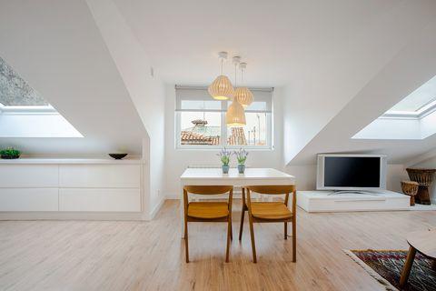 Room, Property, Ceiling, Interior design, Floor, Furniture, Building, Wood flooring, House, Hardwood,