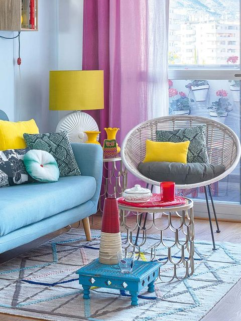 Blue, Yellow, Room, Interior design, Furniture, Purple, Living room, Couch, Interior design, Magenta,