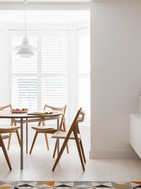 Wood, Room, Floor, Interior design, Flooring, Table, Wall, Hardwood, Window covering, Light fixture,