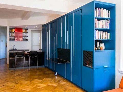 Blue, Floor, Room, Interior design, Flooring, Property, Cupboard, Wall, Ceiling, Shelf,