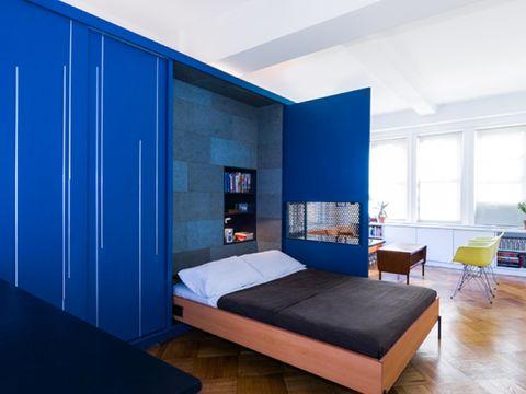 Blue, Wood, Room, Floor, Interior design, Bed, Property, Flooring, Hardwood, Furniture,