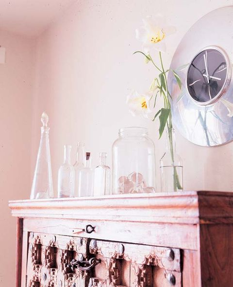 Room, Glass, Serveware, Dishware, Home accessories, Bottle, Glass bottle, Still life photography, Peach, Paint,