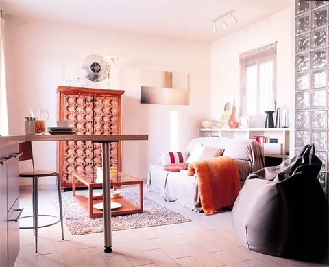 Room, Interior design, Wall, Floor, Home, Orange, Interior design, Linens, Grey, Peach,