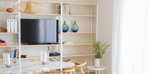 Room, Interior design, Wood, Furniture, Floor, Table, Shelf, Home, Flooring, Shelving,