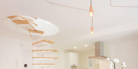 Interior design, Room, Ceiling fixture, Floor, Light fixture, Ceiling, Interior design, Table, Wall, Beige,