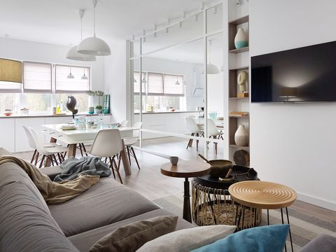 Room, Interior design, Floor, Table, Furniture, Wall, Light fixture, Ceiling, Interior design, Home,