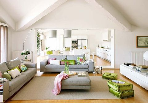 Green, Room, Interior design, Living room, Home, Wall, Floor, Furniture, Flooring, White,