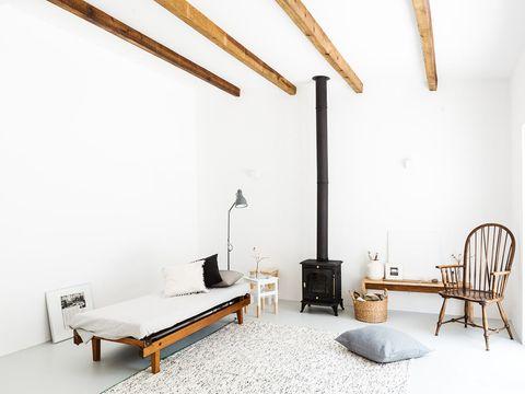 Wood, Room, Interior design, Furniture, Floor, Wall, Hardwood, Bed, Ceiling, Linens,