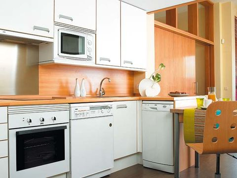 Wood, Room, Property, Floor, White, Interior design, Major appliance, Flooring, Home, Kitchen,