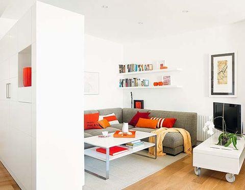 Interior design, Room, Wood, Wall, Floor, Furniture, Living room, Flooring, Home, Orange,