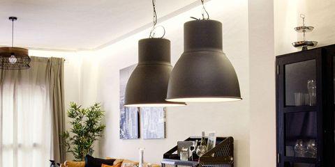 Room, Wood, Interior design, Table, Furniture, Light fixture, Dining room, Interior design, Chair, Ceiling,