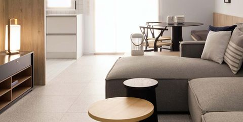 Interior design, Room, Living room, Furniture, Property, Floor, Coffee table, Table, Building, Wall,