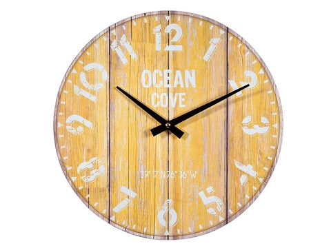 Wood, Yellow, Clock, Tan, Wall clock, Circle, Home accessories, Number, Quartz clock, Symbol,