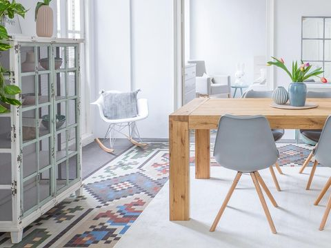 Wood, Floor, Room, Table, Flooring, Furniture, Interior design, Chair, Grey, Flowerpot,
