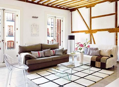 Interior design, Room, Floor, Living room, Furniture, Wall, Home, White, Couch, Flooring,
