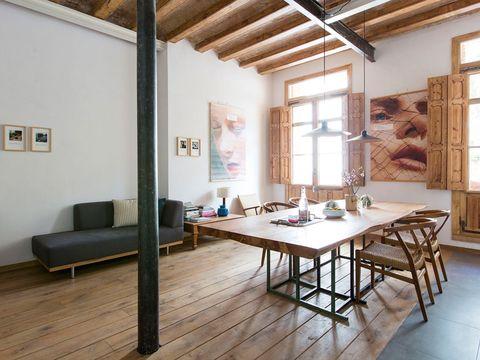 Wood, Floor, Room, Interior design, Flooring, Hardwood, Wall, Ceiling, Furniture, Table,