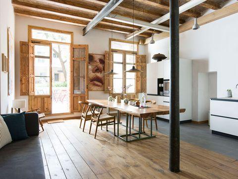 Wood, Room, Floor, Interior design, Flooring, Furniture, Hardwood, Table, Ceiling, Wall,