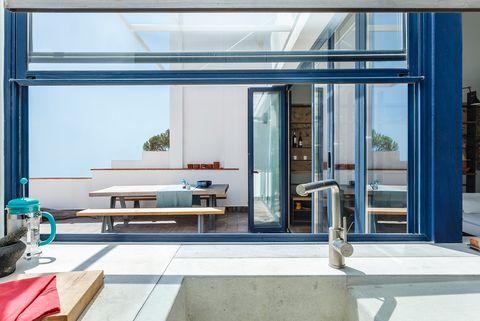 Architecture, Glass, Interior design, Floor, Fixture, Interior design, Tile, Rectangle, Composite material, Plumbing fixture,