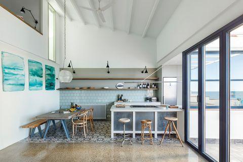 Floor, Interior design, Room, Table, Ceiling, Countertop, Flooring, Glass, Interior design, Daylighting,